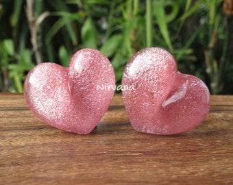 "Pastel Pink Dichroic Glass Heart Plugs (Large Gauge Size Photo) 10g 8g 6g 4g 2g 0G 00g  7/16"" 1/2"" 9/16"" 5/8"" 3/4"" 7/8"" 1""  3 mm - 25 mm"