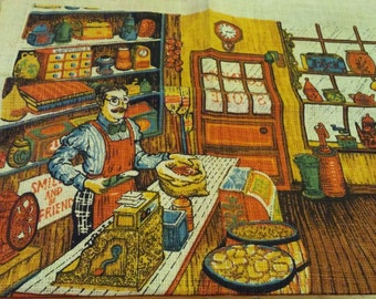 Vintage 1977 Printed Linen Calendar Kitchen Towel - Country Store and Store Keeper