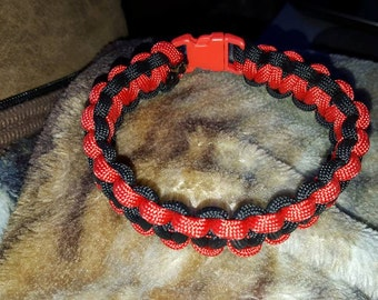 Red and black 9.5 paracord bracelet