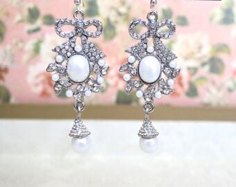 Bridal Earrings Dangle, Pearl Drop Wedding Earrings, Bow Bridesmaid Earrings, Bridal Jewelry Rhinestone Wedding Earring, Pearl Earrings