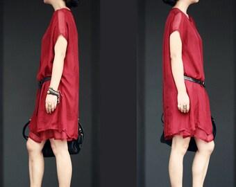 Red layered silk dress  BonLife