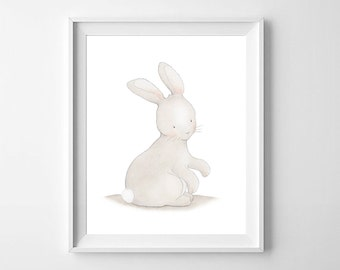 Bunny Rabbit Nursery Wall Art,Bunny Rabbit Nursery Decor,Woodland Nursery,Woodland Decor,Bunny Baby Art,Bunny Baby Room,Bunny Children Art