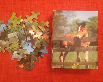 63 pc Horse Puzzle Whitman 1982 Don't Fence Me In