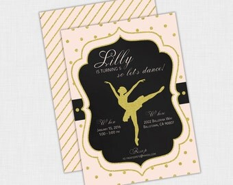 Ballet Birthday Party Invitation, Ballerina Dance Invite, Pink and Gold DIY Printable PDF or JPEG, 5 x 7, Polka Dot