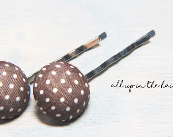 Brown Polka Dot Bobby Pins