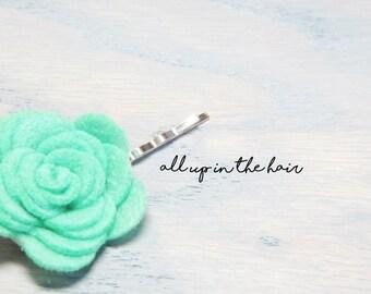 Felt Flower Bobby Pins - Green Flower Bobby Pin