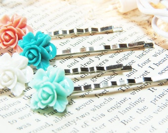 Flower Bobby Pins - Bouquet Bobby Pins - Pink Flower Bobby Pins - Teal Flower Bobby Pins - Black Flower Bobby Pins - Peach Flower Hair Pins
