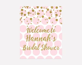 Bridal Shower Welcome Sign, Pink and Gold Confetti Bridal Shower Pink Polka Dots Gold Confetti Printable, Digital Print PDF