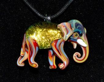 Golden Dichroic Elephant Glass Pendant