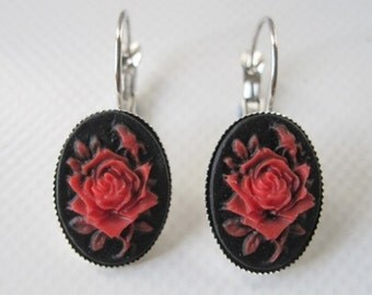 Cameo earings retro vintage red rose rockabilly pin up gothic penny dreadful