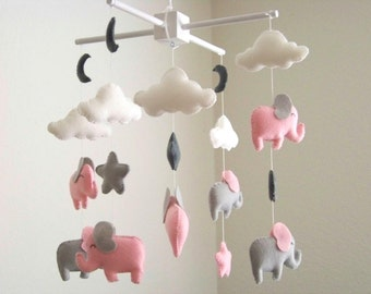 pink and gray elephant mobile, baby mobile, pink gray nursery decor, nursery crib mobile, elephant nursery decor, star cloud mobile, baby