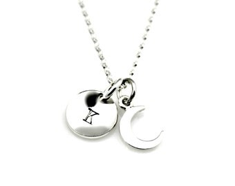 Tiny CRESCENT MOON INITIAL Necklace in Sterling Silver *