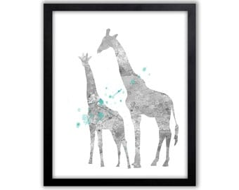 Giraffe Wall Art, Giraffe Watercolor, Baby Art, Nursery Wall Art, Nursery Ideas, Limited Edition Art Print - AS7001P