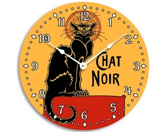 Vintage French black cat chat noir design wall clock. 10 inch wall clock. CL3267