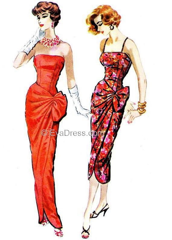 1950s Sewing Patterns | Swing and Wiggle Dresses, Skirts 1957 Long or Short Side-Tie Dress Pattern Size Set B 40 to 46 bust $35.00 AT vintagedancer.com