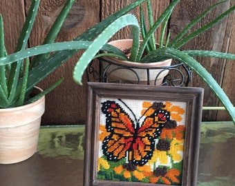Vintage butterfly embroidery, butterfly crewel art