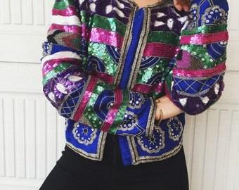 Vintage 80s Laurence Kazar Silk Beaded Jacket