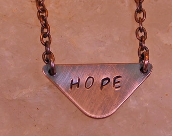 Bar Necklace Minimalist HOPE Antiqued Copper Necklace Statement Necklace Rounded Arrow