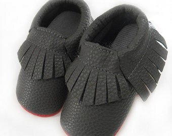 Baby Soft Sole Black And Red Bottom Sole Tassel Moccasins