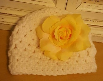 White Newborn Cap with Yellow Rose
