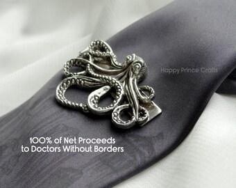 Generous Octopus Tie Clip - 100% of Net Proceeds to Doctors Without Borders