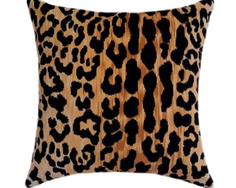 Leopard Pillow Cover, Jamil Natural Cotton Velvet Pillow Cover, Animal Print Velvet Throw Pillow, Gold Leopard Cushion Cover, 24X24