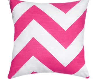 Chevron Throw Pillow Cover, Hot Pink and White Pillow, Zippy Candy Pink Pillow, Bright Pink Pillow, Large Chevron Pillow, Pink Accent Pillow