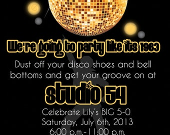 Gold Disco Dance Studio 54 Birthday Invitation