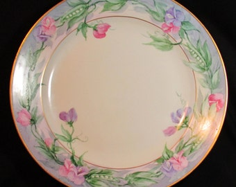 """c1900 Moritz Zdekauer MZ Austria Hand Painted Sweet Pea Charger Plate 12.5"""""""