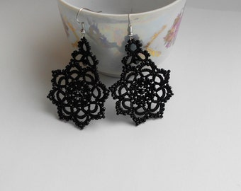 Black lace earrings, black earrings with black beads, tatted earrings, tatting jewelry