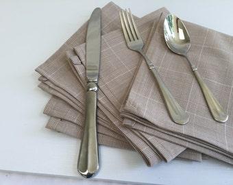Linen Napkins - Cloth Napkins - Table Linens - Striped Linen Napkins - Reusable Napkins - Trimmed Napkins - Brown Fabric Napkins