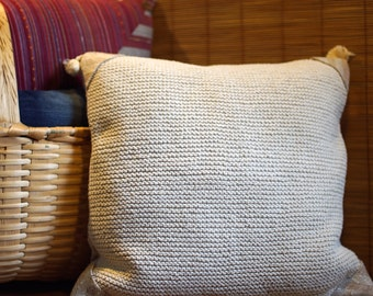 Eco pillows - eco-friendly, hand knitted regenerated cotton