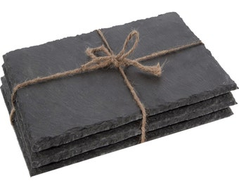 Set of 6 Natural Slate Rectangular Place Mats - Dinner Table Place Mats