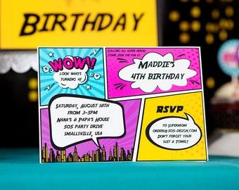 Girls Superhero Party Invitation - INSTANT DOWNLOAD Super Girl Invitation - Girls Comic Style Invitation by Printable Studio