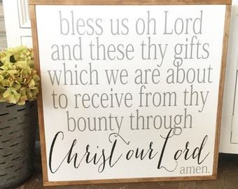Bless Us Oh Lord | Wood Sign | 25 x 25
