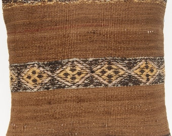 "Home decor pillow kelim cover hand woven Turkish square wool soft kilim area rugs 18""x18"""