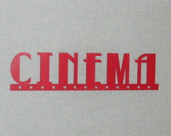 """Large 24"""" Red Cinema Wall Word With Stars Sign Movie Theater Art Decor"""