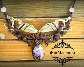 Amethyst macrame necklace\handmade\energy stone