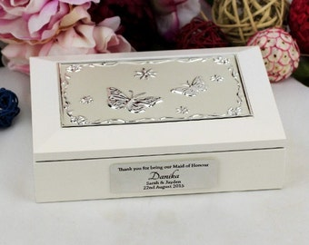 Personalised Bridesmaid Butterfly Jewel Keepsake Box