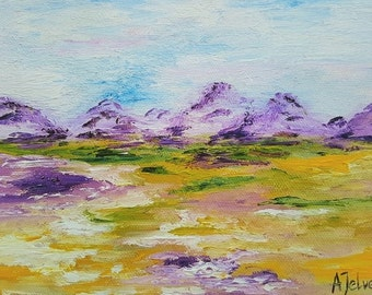 Mountain art print Purple mountain Original art print Landscape print of original painting Giclee art print 5x7 print 8x10 print 11x14 print