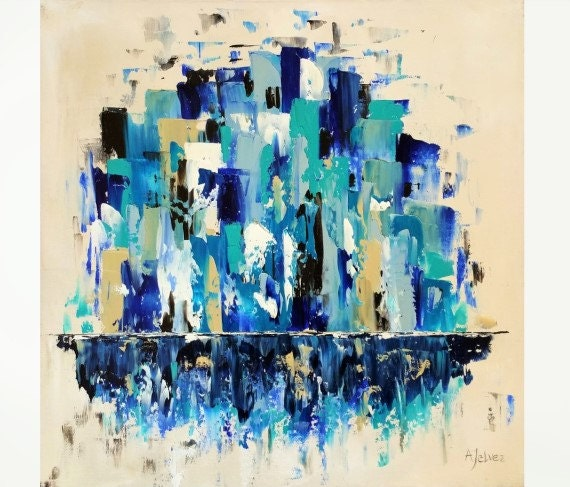 seattle home dcor seattle art seattle skyline seattle wall art seattle cityscape painting cityscape original oil