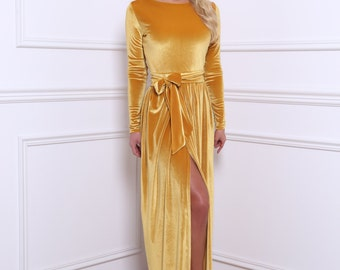 Yellow Gold Velvet Maxi Dress Slit Long Sleeves