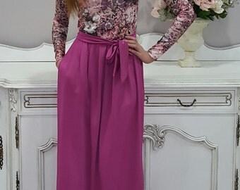 Dusky Pink Floral Maxi Dress Long Sleeves Pockets