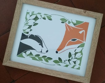 FRAMED PAPERCUT  Mr Badger and Mr Foxy