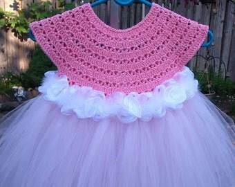 Pink Flower girl dress, blush Pink tutu dress princess dress, blush powder pink crochet top tulle dress, hand made tutu dress in pink