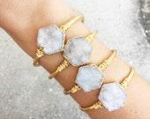 Angel Aura Hexagon Cuff Bracelet | Druzy Bracelet | Druzy Cuff |