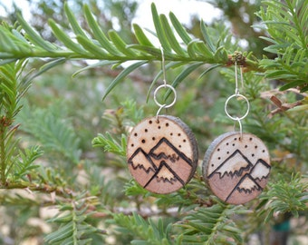 Reclaimed Tree Branch Pine Wood Slice Dangle Earrings Rustic Snowy Mountain Wood Burned Wedding Bridal Jewelry