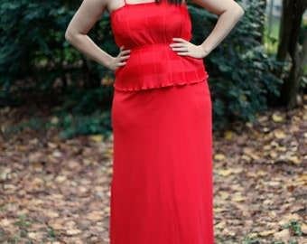 1980's red peplum formal dress with gathered bodice and high waist