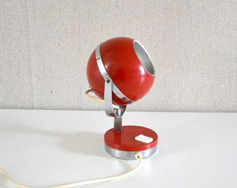 Mid Century Modern Atomic Eyeball / red table Lamp  / space age 70s