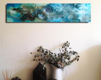 Under the water original painting ink and pigments on canvas, abstract art.